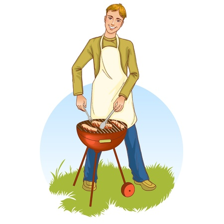 Young handsome man at a barbecue grill Vector
