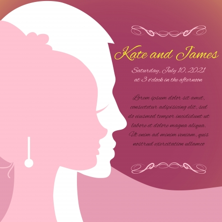Wedding invitation card with silhouettes of couple