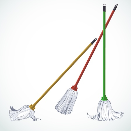 mop: Set of three floor fibers mops. Looks good both on dark and light backgrounds Illustration