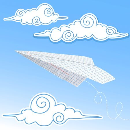 toy plane: Paper airplane in the sky with paper decorative clouds Illustration