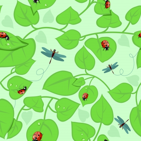 Seamless background with leaves, ladybirds and dragonflies Vector