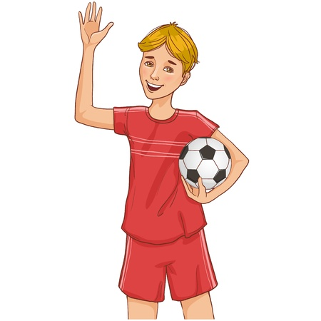 image of a happy boy in uniform with football Vector