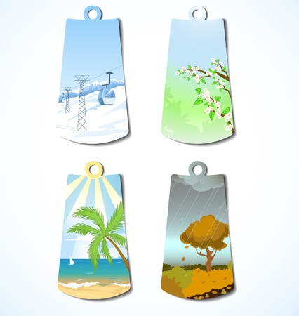 Set of four badges with seasonal backgrounds Vector
