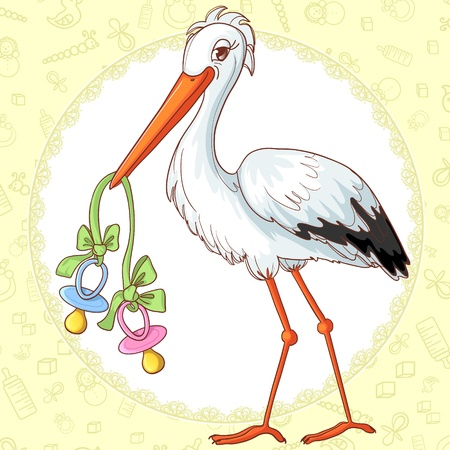 Baby greetings card with stork and two pacifiers for twins Illustration