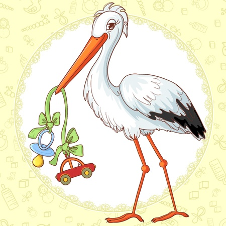 Baby greetings card with stork and pacifier for boy Vector