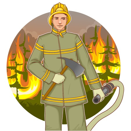 wearing: Firefighter with a fire hose and axe against a fire