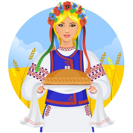 ukraine flag: Young woman in ukrainian clothes, with garland and round loaf