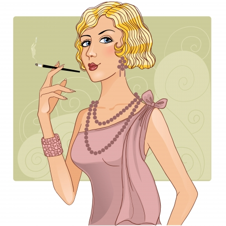 Cute girl in retro style with cigarette Vector