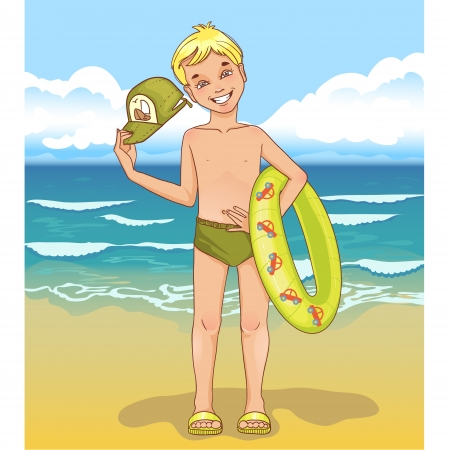Little boy with a swimming circle Vector