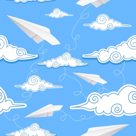 Seamless background with paper airplane and decorative clouds Vector