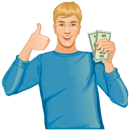handsome guy: Young man with money in hand Illustration