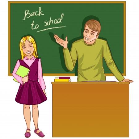 teacher at desk: Teacher at blackboard in classroom with girl