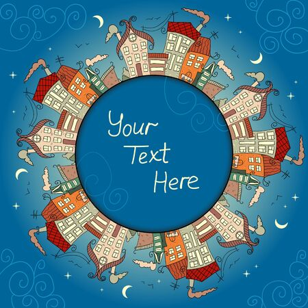 Decorative card with vintage houses at night Vector
