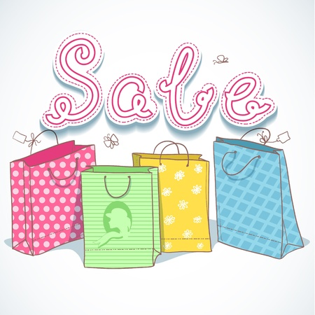 Shopping colorful decorative bags with sale text above Illusztráció