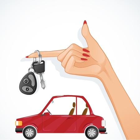 remote lock: Mano de la mujer con la llave del coche y el rojo de auto en el fondo Vectores