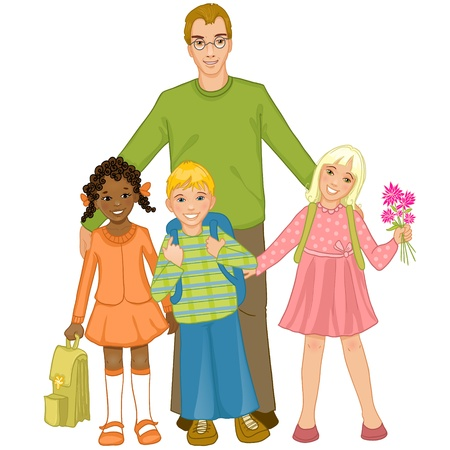 Teacher with group of children Vector