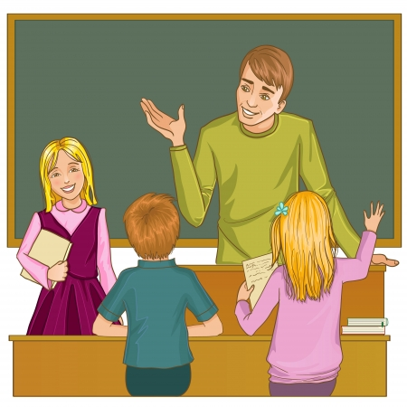 Teacher at blackboard in classroom with children Vector