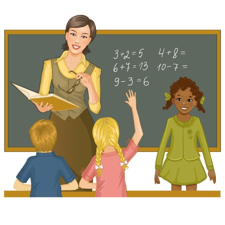 work task: Teacher at blackboard explains children mathematics