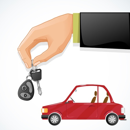 Man hand with auto key and red car on the background, esp10  Vector