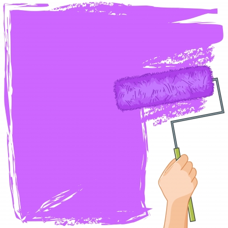 rollerbrush: Hand with roller-brush paints the wall