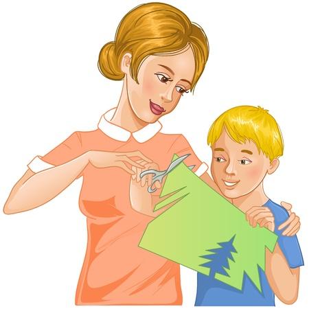 Moeder helpt zoon te kleuren papier te snijden en maak applique werk