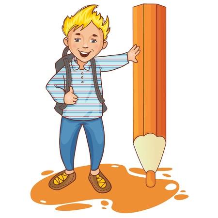 Cartoon schoolboy near big pencil