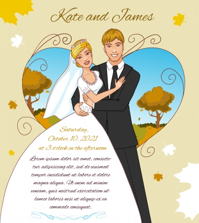 Young couple on the autumn background  Invitation card for the autumn wedding event Vector