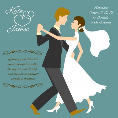tango dance: Wedding couple Illustration