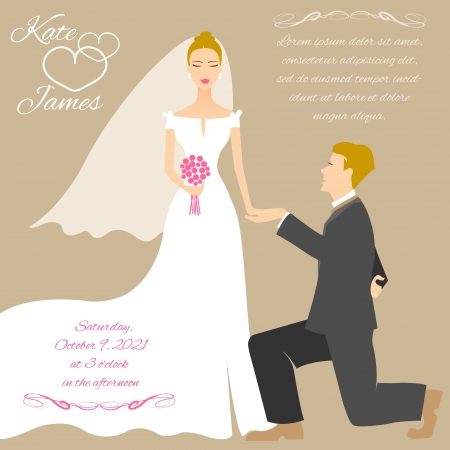 hand holding flower: Wedding couple Illustration