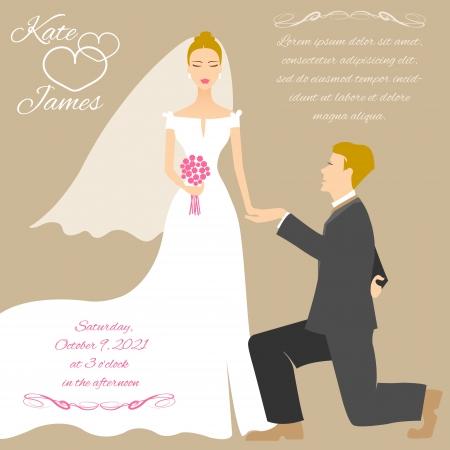hand holding flower: Wedding couple Illustration