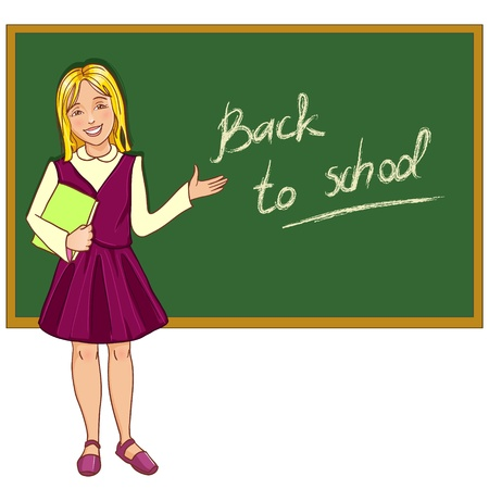 Schoolgirl at blackboard
