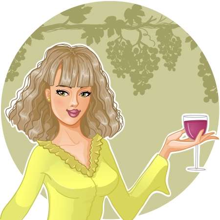 Girl with glass of wine Vector