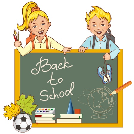 Cartoon schoolgirl and schoolboy at the blackboard and stationery Vector
