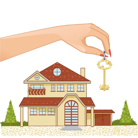 garden key: Woman hand with house key and cottage on the background Illustration