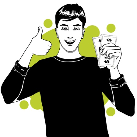 glad: Young man with money in hand Illustration