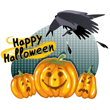 Halloween background with funny pumpkins and crow Vector