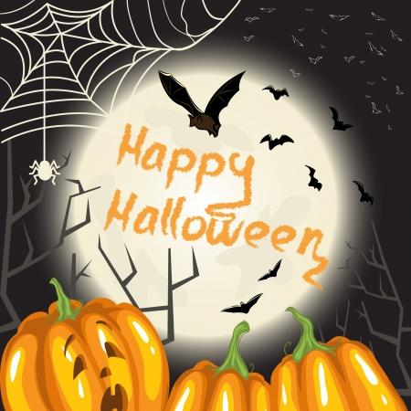 Halloween background with pumpkins, moon and bats Vector