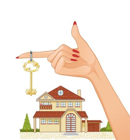 Vrouw hand met huissleutel en huisje op de achtergrond, eps10