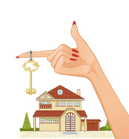 tree service business: Woman hand with house key and cottage on the background, eps10  Illustration