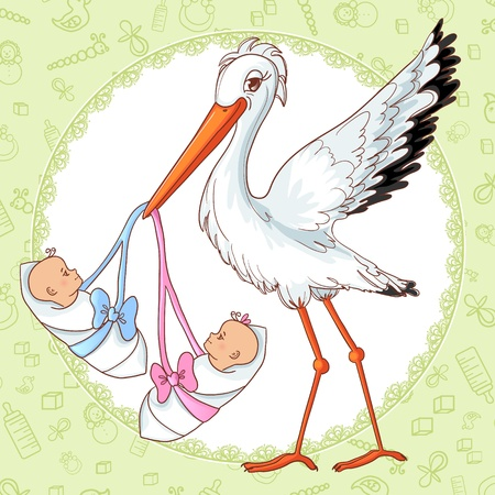 Baby greetings card with stork and twins Stock Illustratie