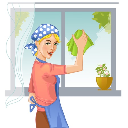 cleaners: Woman washes window Illustration
