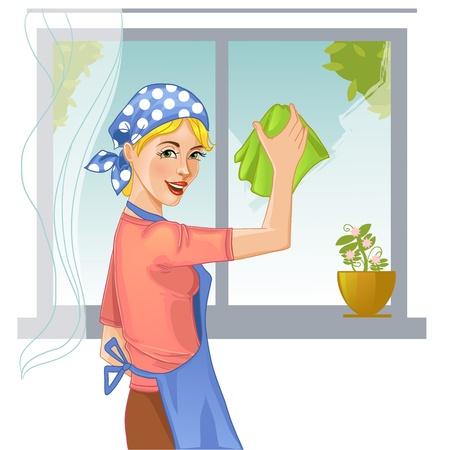 Woman washes window Иллюстрация