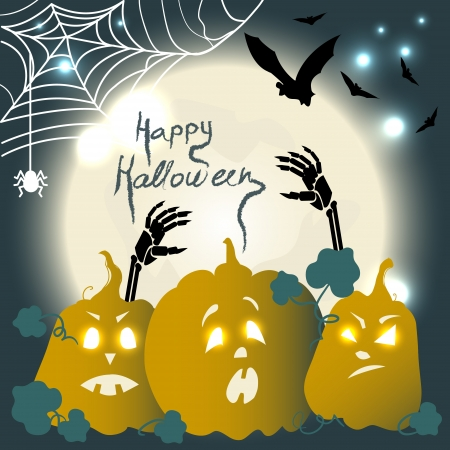 spider net: Halloween background with pumpkins, moon and bats