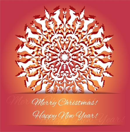 background with snowflake with horse, symbol of 2014 new year Vector