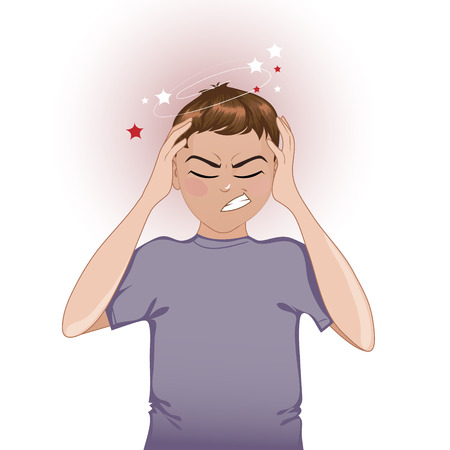 Chory chłopiec skarg ból głowy
