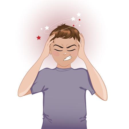 Garçon plaintes malades sur les maux de tête