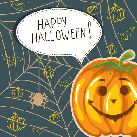 pumpkin face: Halloween background with funny pumpkin and bubble speech Illustration