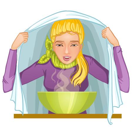 inhalacion: Mujer joven enferma hace la inhalaci�n, eps10