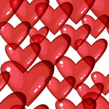 Seamless background with red transparent hearts Vector