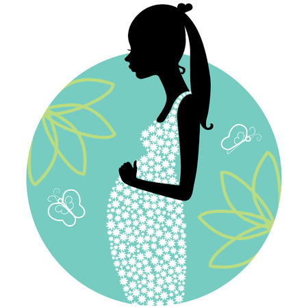 Silhouette of young pregnant woman Illustration